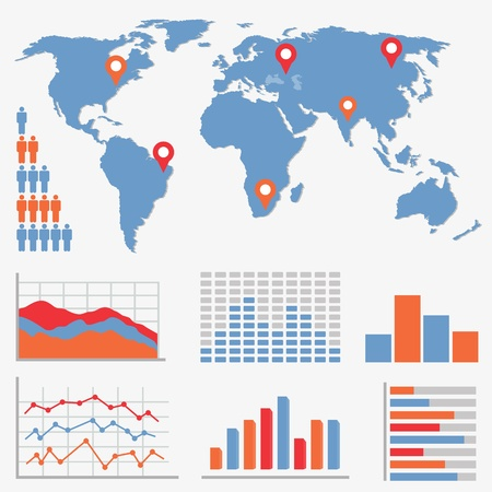 Infographics and statistics icons and world map Vector