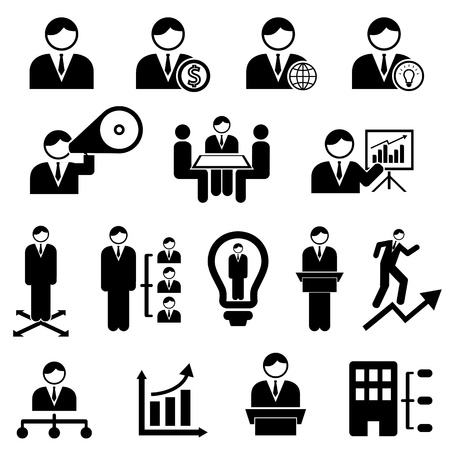Business and management icons with businessman