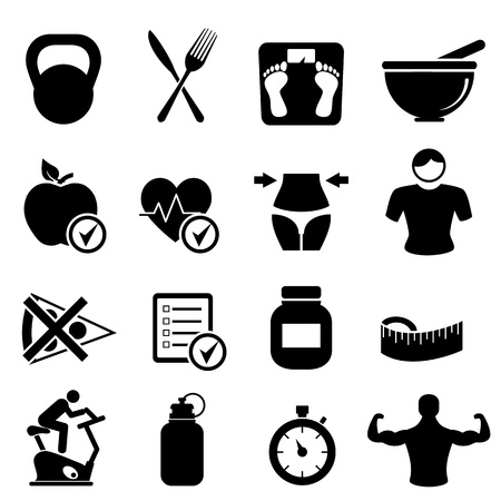 Diet, fitness and healthy living icon set Vector