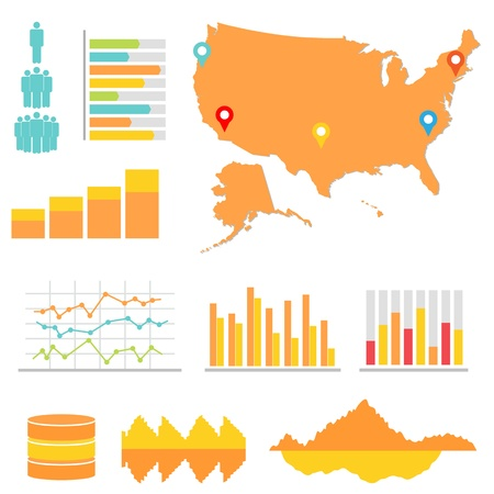 Infographics and statistics with US map Vector