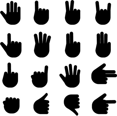 pointing up: Various hand gestures and signals