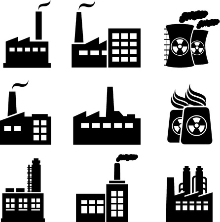 Industrial buildings, nuclear plants and factories Illustration