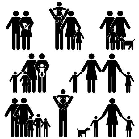 ciclo de vida: Familia con niños icono establecido