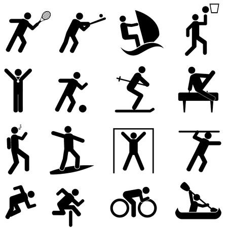 kayak: Sport en atletiek icon set Stock Illustratie