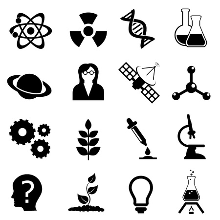 science scientific: Science related, physics, biology and chemistry icon set