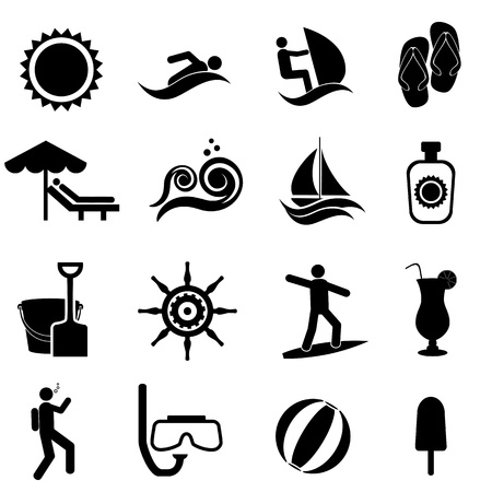 Beach, summer, travel and nautical icon set Vector