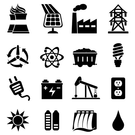 Energiegerelateerde icon set in het zwart