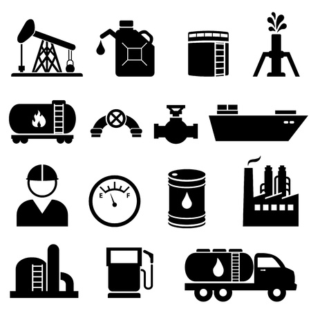 Aardolie en aardolieproducten icon set in zwart Stock Illustratie