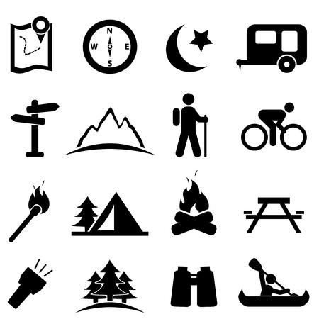man hiking: Camping and recreation icon set