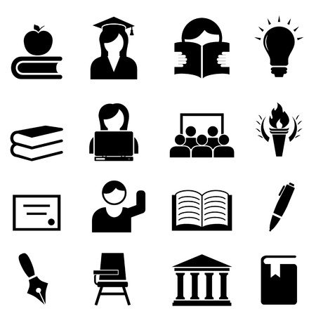 College and higher education icon set Vector