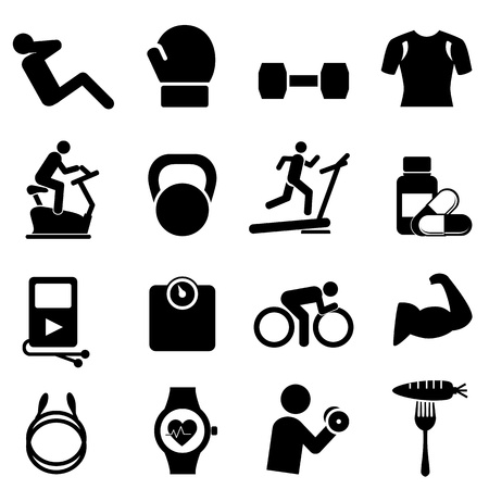 gym: Fitness, diet and healthy living icon set