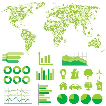 Ökologie, Grün und Umwelt Infografiken