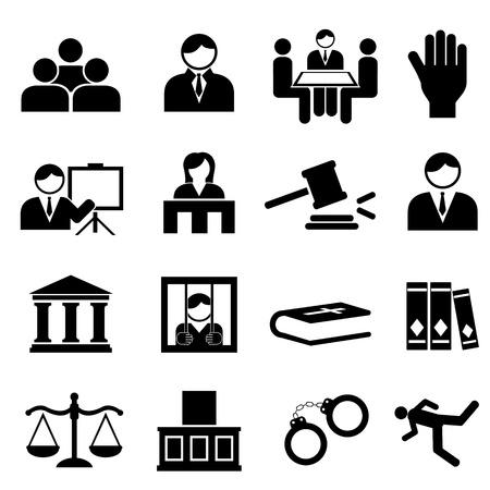 Justice and legal icon set Vector