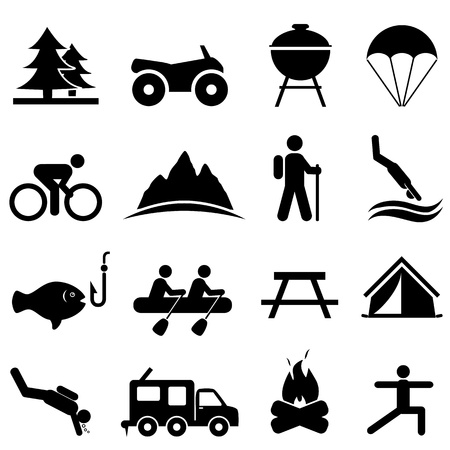 man hiking: Leisure, outdoors and recreation icon set
