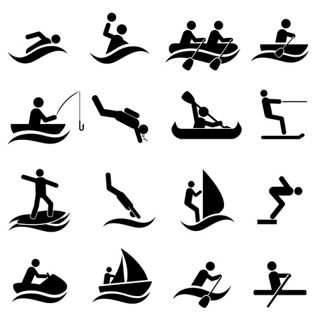 Watersport icon set in zwart