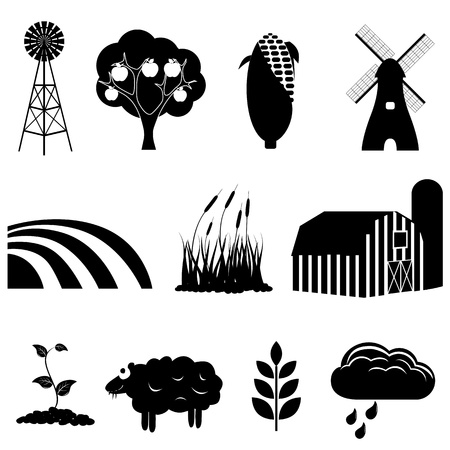 agriculture icon: Farm and agriculture icon set