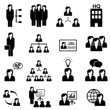 corporate hierarchy: Business e di gestione con imprenditrici Vettoriali