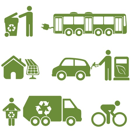 Clean energy, recycling and environment symbols