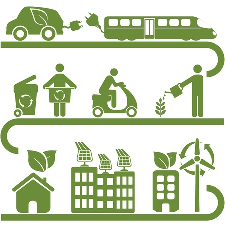 Clean energy and green environment symbols Illustration