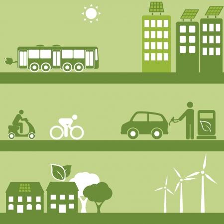 desarrollo sustentable: Energías alternativas para el transporte y edificios Vectores
