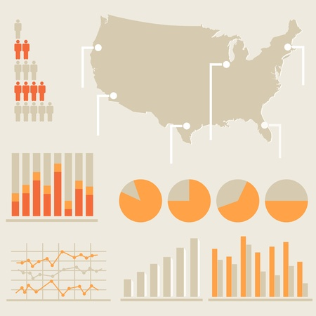 united states map: Infographics with charts and US map
