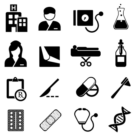 rx: Healthcare and medical related icon set Illustration