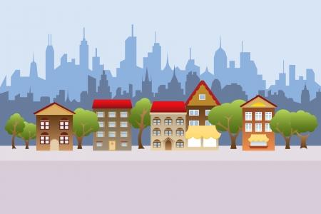 郊外の住宅と都市背景で  イラスト・ベクター素材