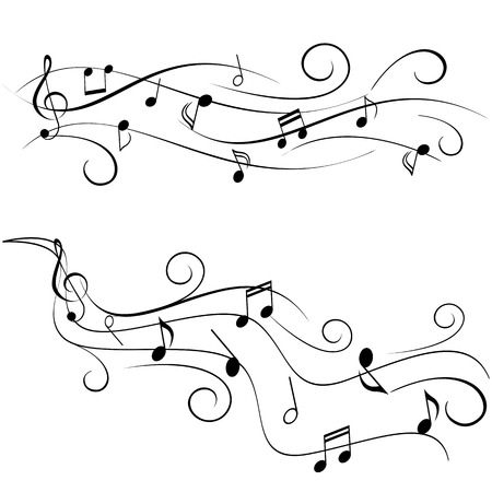 sheet music: Various music notes on swirly staff