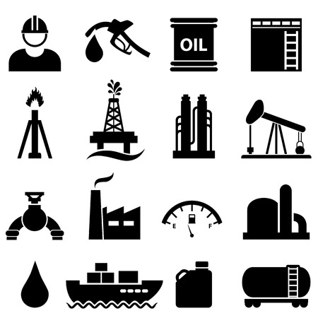 oil refinery: Oil, gasoline and petroleum related icon set