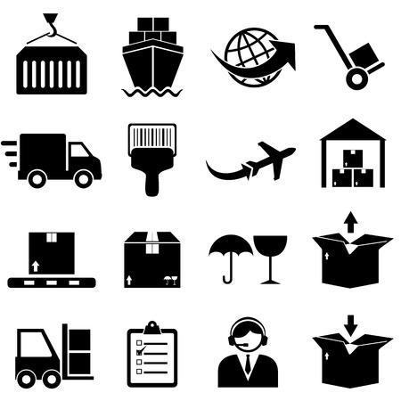 Lading en het verschepen icon set