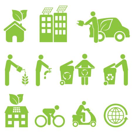 desarrollo sustentable: Ecología, reciclaje y medio ambiente conjunto de iconos