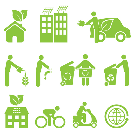 Ecology, recycling and environment icon set Vector