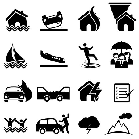 Insurance, accident, disaster icon set