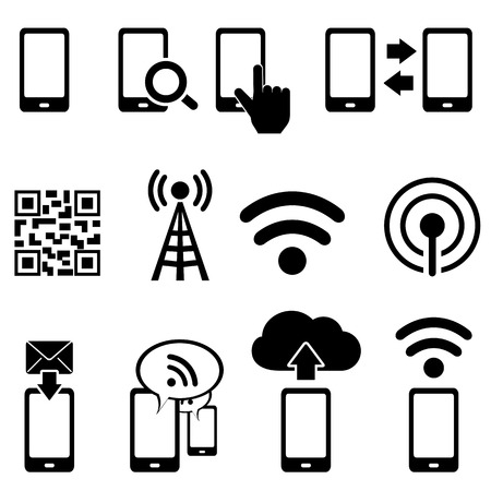 Téléphone portable, sans fil, mobile et wifi icône ensemble Banque d'images - 23019481