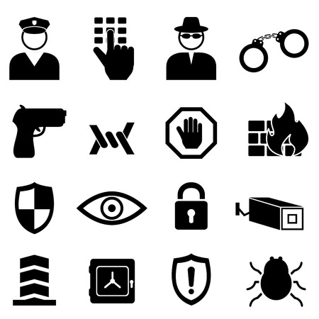 Safety, security and crime icon set Иллюстрация