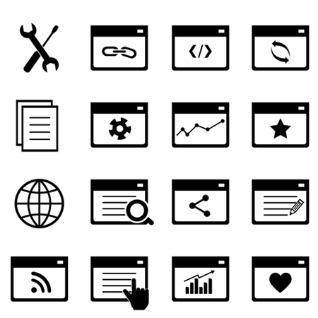 Search engine optimization symbols icon set