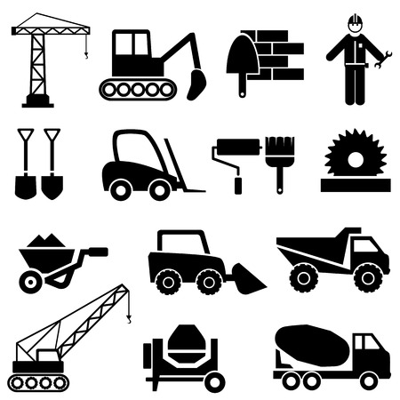 Construction and industrial machinery icon set