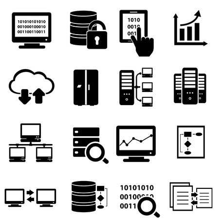 information analysis: Big data and technology icon set