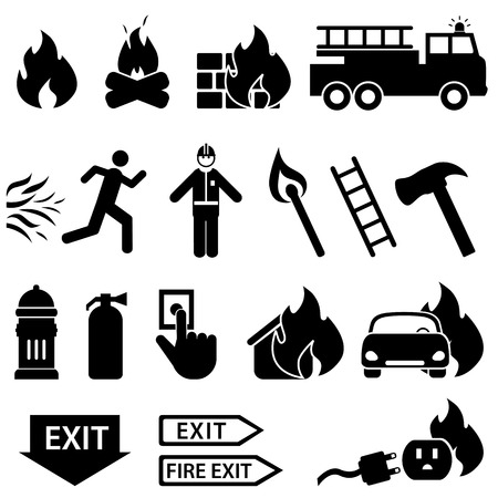 electrical safety: Fire related icon set in black