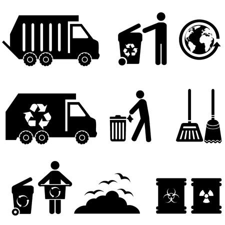 Trash, garbage and waste icon set Stock Illustratie