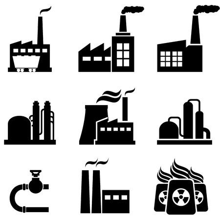 発電、原子力発電所、工場、工業用建物  イラスト・ベクター素材