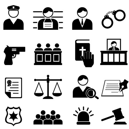 Legal, justice and court icon set Vector