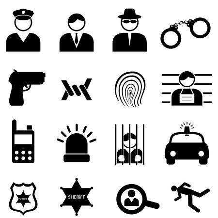 Police and crime icon set Vector