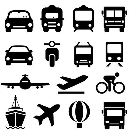 Transportation icon set in black