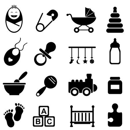 Baby, infant and birth icon set Vector