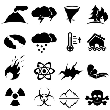 disaster: Disaster icon set in black