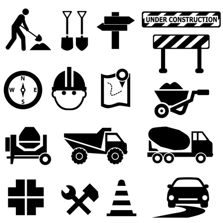 Road repair, construction and maintenance icon set 向量圖像