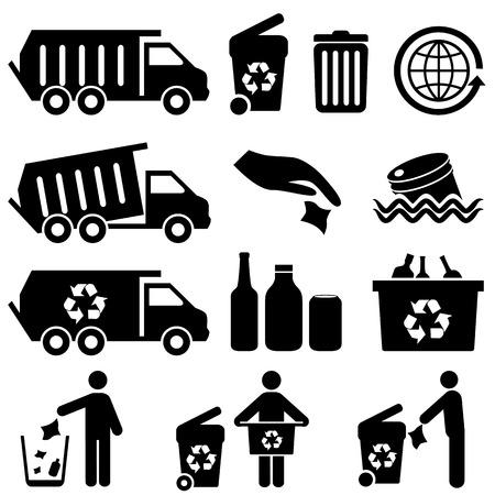 camion de basura: Iconos de basura y reciclaje