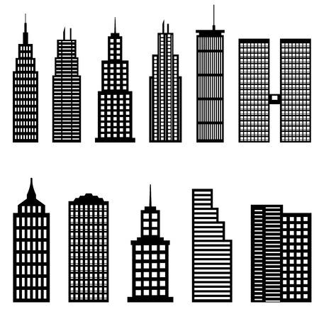 небоскребы: Высокие здания и небоскребы архитектура Иллюстрация