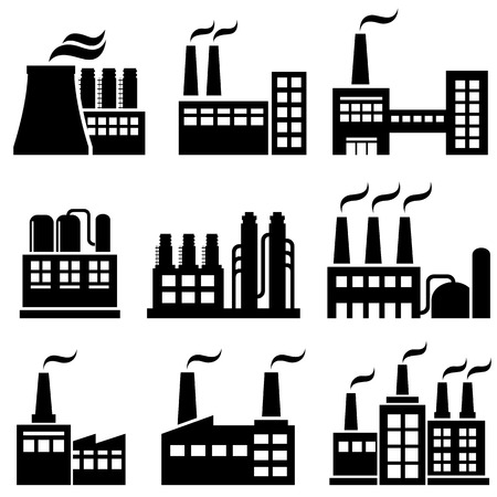 Industrial buildings, factories and power plants